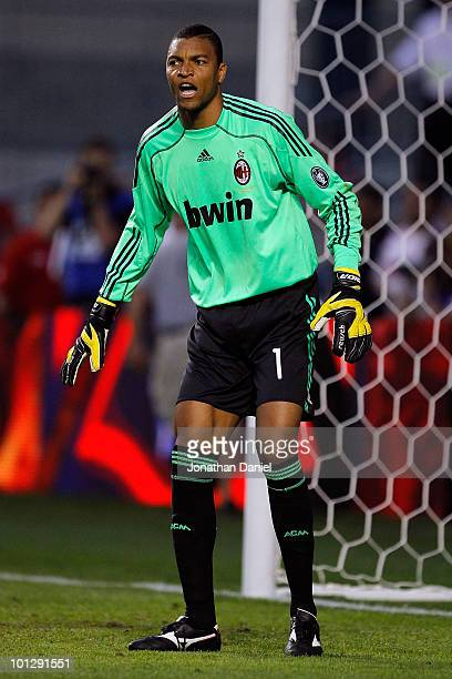 Goalkeeper Dida of AC Milan calls out in the first half while taking on the Chicago Fire during an international friendly at Toyota Park on May 30...