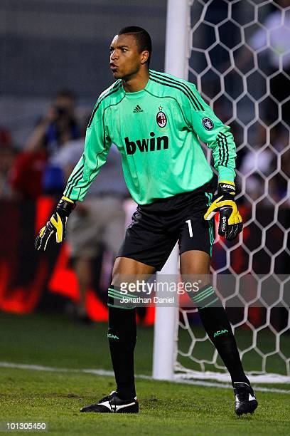 Goalkeeper Dida of AC Milan in net while taking on the Chicago Fire during an international friendly at Toyota Park on May 30 2010 in Chicago Illinois
