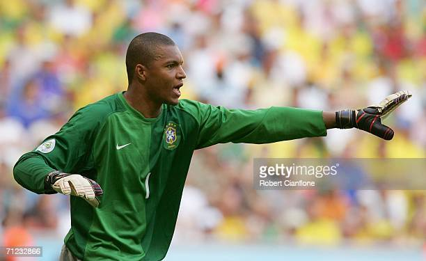 Goalkeeper Dida of Brazil gives instructions during the FIFA World Cup Germany 2006 Group F match between Brazil and Australia at the Stadium Munich...
