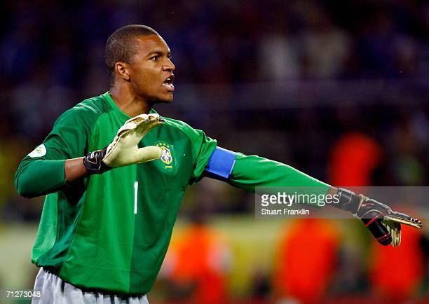 Goalkeeper Dida of Brazil gives instructions during the FIFA World Cup Germany 2006 Group F match between Japan and Brazil at the Stadium Dortmund on...