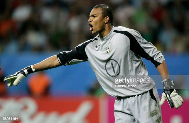 Goalkeeper Dida of Brazil shouts during the FIFA 2005 Confederations Cup Final between Brazil and Argentina at the Waldstadion on June 29 in...