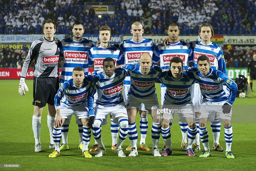 goalkeeper Diederik Boer of PEC Zwolle, Denni Avdic of PEC Zwolle, Mateusz Klich of PEC Zwolle , Wiljan Pluim of PEC Zwolle, Darryl Lachman of PEC Zwolle, Joost Broerse of PEC Zwolle Rochdi Achenteh of PEC Zwolle, Giovanni Gravenbeek of PEC Zwolle, Arne Slot of PEC Zwolle, Bram van Polen of PEC Zwolle, Youness Mokhtar of PEC Zwolle during the Dutch Cup match between PEC Zwolle and PSV Eindhoven at the IJsseldelta Stadium on february 27, 2013 in Zwolle, The Netherlands