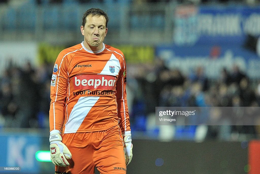 goalkeeper Diederik Boer of PEC Zwolle during the Dutch Cup match between PEC Zwolle and Heracles Almelo at the IJsseldelta Stadium on january 30, 2013 in Zwolle, The Netherlands