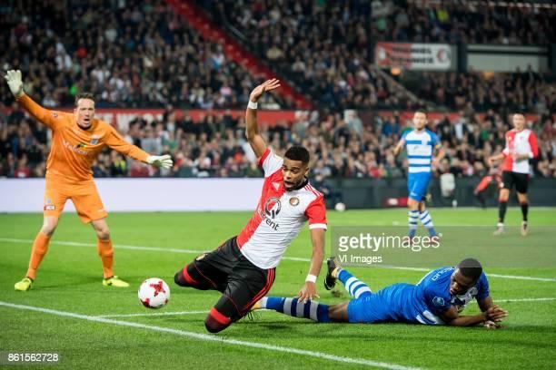 goalkeeper Diederik Boer of PEC Zwolle Jeremiah St Juste of Feyenoord Kingsley Ehizibue of PEC Zwolle during the Dutch Eredivisie match between...