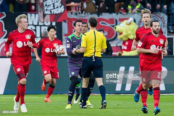 goalkeeper Diego Benaglio of VFL Wolfsburg makes protest at referee Bastian Dankert during the bundesliga match between Bayer 04 Leverkusen and VfL...