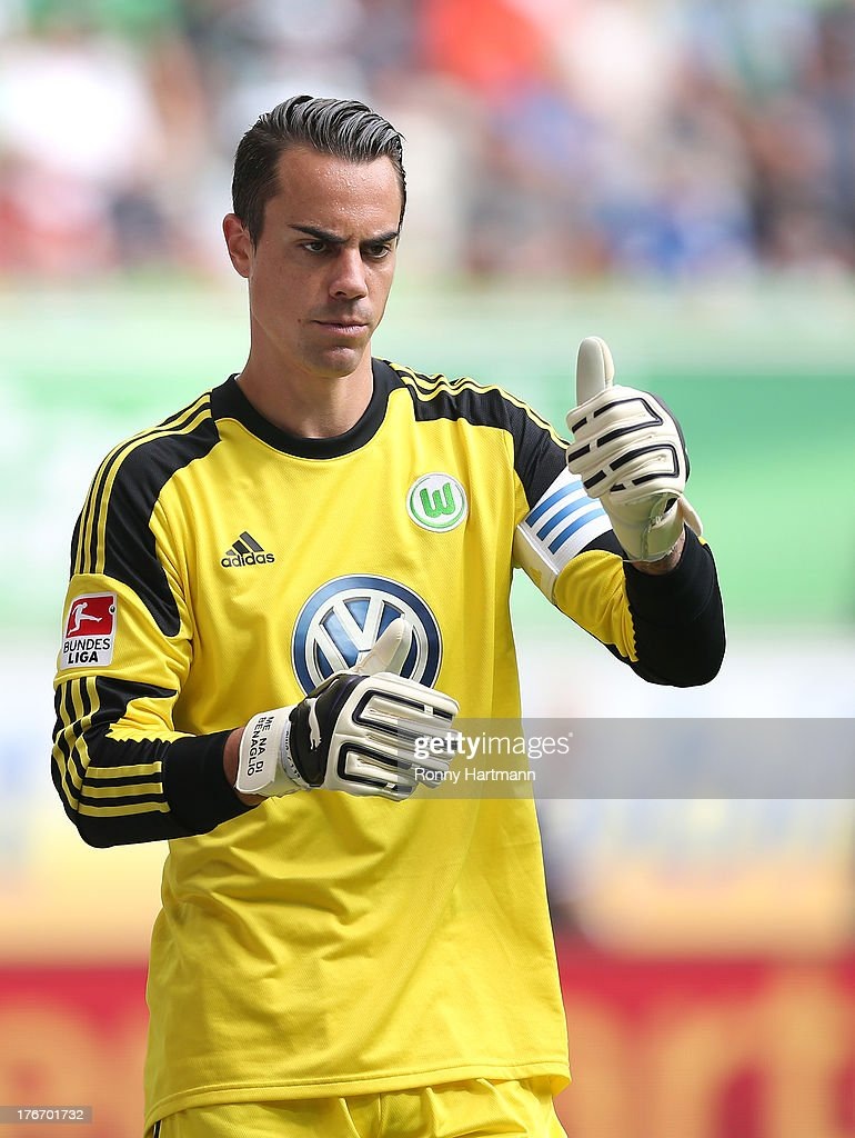 Goalkeeper Diego Benaglio of Wolfsburg gives a thumbs up during the Bundesliga match between VfL Wolfsburg and FC Schalke 04 at Volkswagen Arena on August 17, 2013 in Wolfsburg, Germany.
