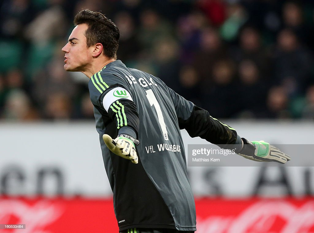Goalkeeper <a gi-track='captionPersonalityLinkClicked' href=/galleries/search?phrase=Diego+Benaglio&family=editorial&specificpeople=543817 ng-click='$event.stopPropagation()'>Diego Benaglio</a> of Wolfsburg reacts during the Bundesliga match between VFL Wolfsburg and FC Augsburg at Volkswagen Arena on February 2, 2013 in Wolfsburg, Germany.