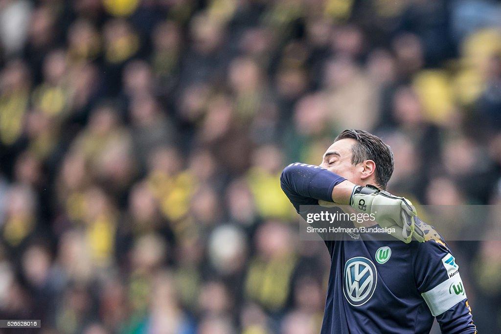 Goalkeeper Diego Benaglio of Wolfsburg reacts during the Bundesliga match between Borussia Dortmund and VfL Wolfsburg at Signal Iduna Park on April 30, 2016 in Dortmund, North Rhine-Westphalia.