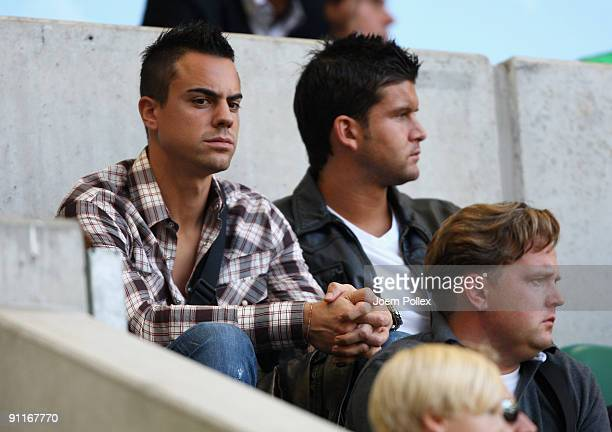 Goalkeeper Diego Benaglio of Wolfsburg sits in the stands during the Bundesliga match between VfL Wolfsburg and Hannover 96 at Volkswagen Arena on...
