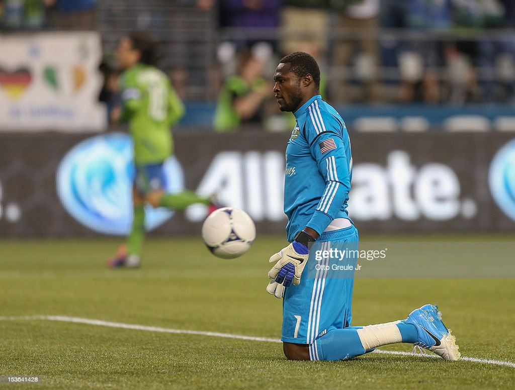 Goalkeeper <a gi-track='captionPersonalityLinkClicked' href=/galleries/search?phrase=Donovan+Ricketts&family=editorial&specificpeople=596480 ng-click='$event.stopPropagation()'>Donovan Ricketts</a> #1 of the Portland Timbers reacts after Eddie Johnson of the Seattle Sounders FC scored a goal at CenturyLink Field on October 7, 2012 in Seattle, Washington. The Sounders defeated the Timbers 3-0.