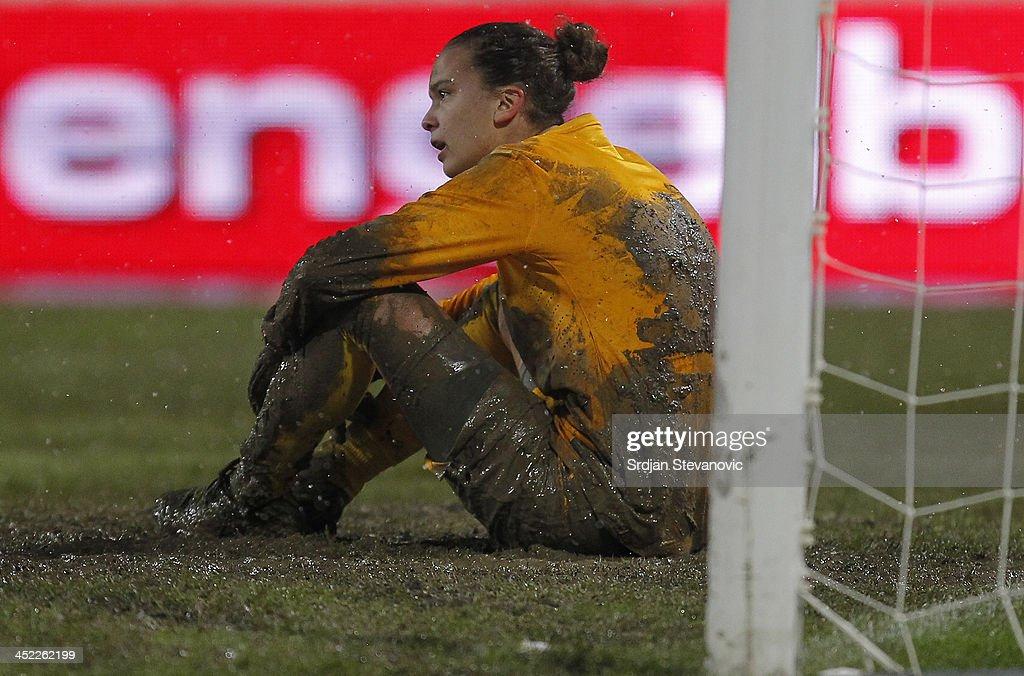 Goalkeeper Doris Bacic of Croatia looks dejected during the FIFA Women's World Cup 2015 Qualifier between Croatia and Germany at Stadion Gradski Vrt on November 27, 2013 in Osijek, Croatia.