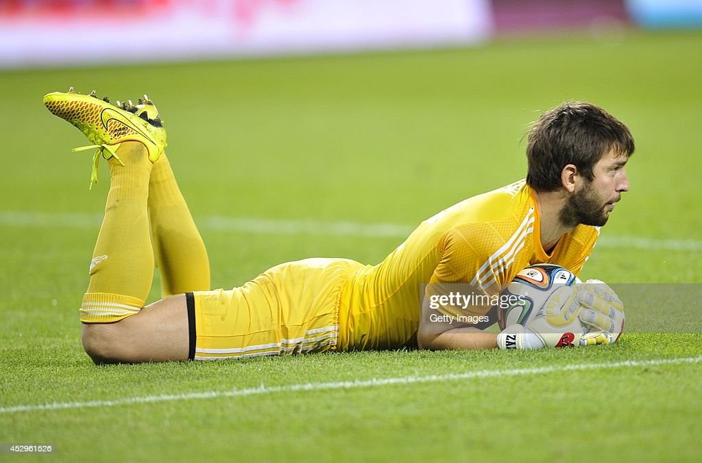 Goalkeeper Dusan Kuciak of Legia during the third qualifying round UEFA Champions League match between Legia and Celtic at Pepsi Arena on July 30, 2014 in Warsaw, Poland.