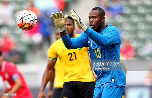 Goalkeeper Dwayne Miller 313 of Jamaica stops the ball against Costa Rica in their CONCACAF Gold Cup Group B match at StubHub Center on July 8 2015...