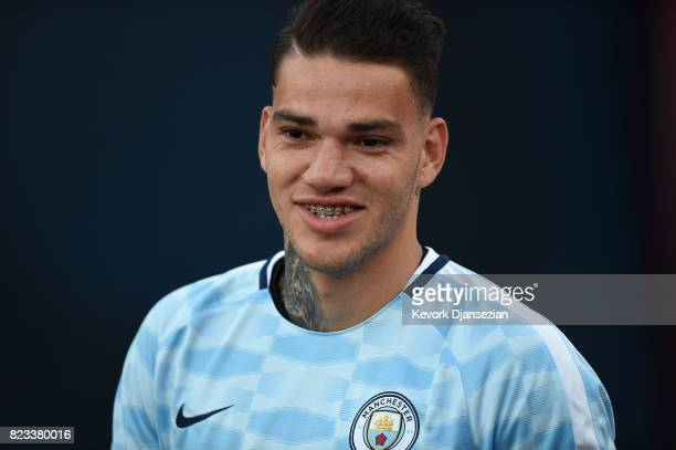 Goalkeeper Ederson Moraes during the International Champions Cup 2017 against Real Madrid at Los Angeles Coliseum July 26 in Los Angeles California