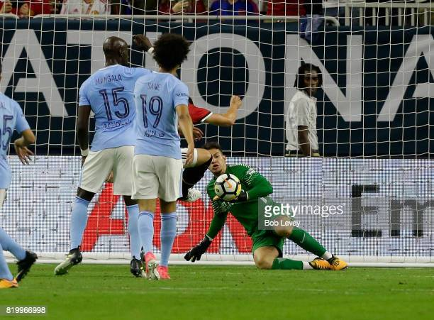 Goalkeeper Ederson Moraes of Manchester City make as save in the second half against Manchester United at NRG Stadium on July 20 2017 in Houston Texas