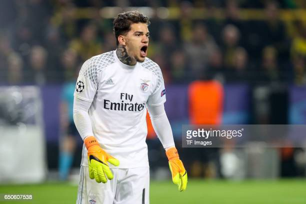 Goalkeeper Ederson of Benfica gestures during the UEFA Champions League Round of 16 Second Leg match between Borussia Dortmund and SL Benfica at...