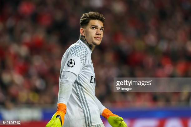Goalkeeper Ederson of Benfica looks on during the UEFA Champions League Round of 16 First Leg match between SL Benfica and Borussia Dortmund at...