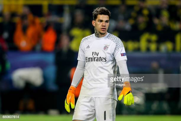 Goalkeeper Ederson of Benfica looks on during the UEFA Champions League Round of 16 Second Leg match between Borussia Dortmund and SL Benfica at...