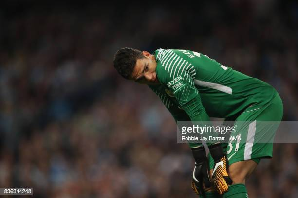 Goalkeeper Ederson of Manchester City during the Premier League match between Manchester City and Everton at Etihad Stadium on August 21 2017 in...