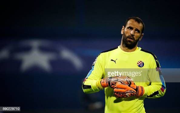 Goalkeeper Eduardo of Dinamo Zagreb looks on during the UEFA Champions League Playoffs First leg match between Dinamo Zagreb and Salzburg at Stadion...