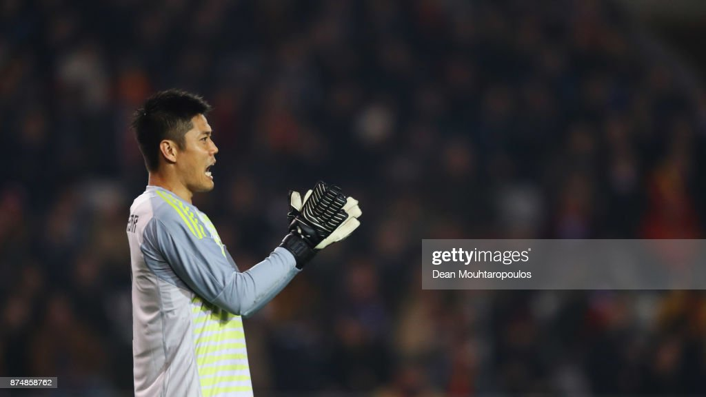 Goalkeeper, Eiji Kawashima of Japan during the international friendly match between Belgium and Japan held at Jan Breydel Stadium on November 14, 2017 in Brugge, Belgium.