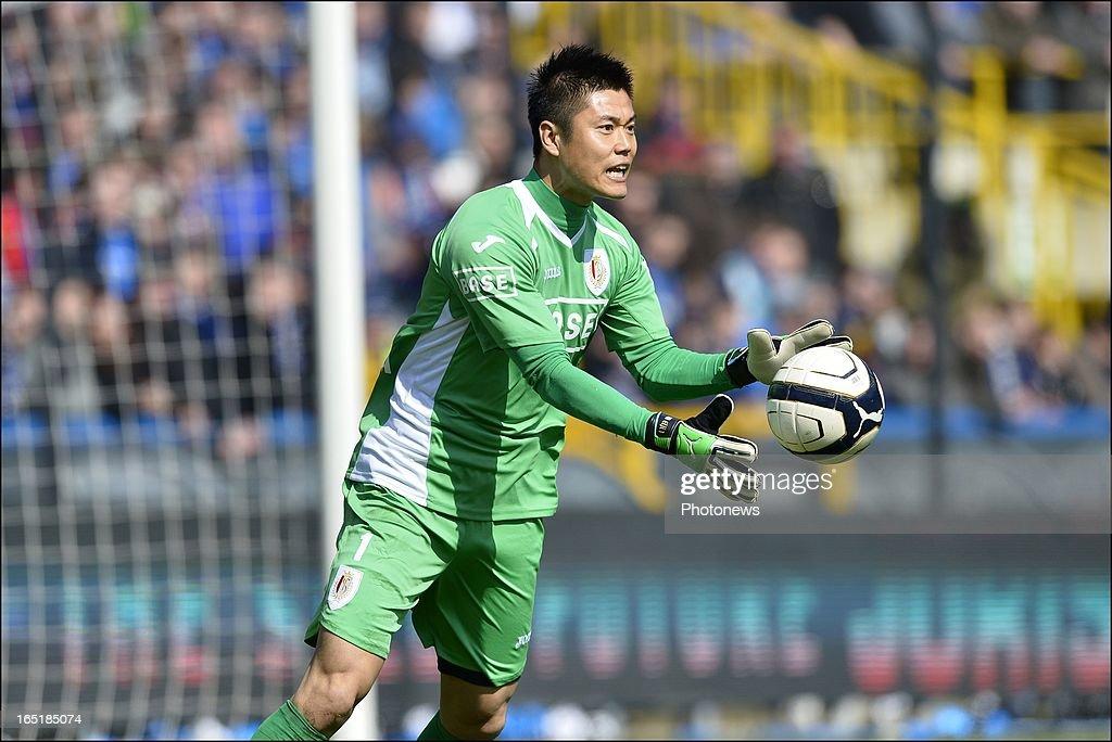 Goalkeeper Eiji Kawashima of Standard in action during the Jupiler League match between Club Brugge and Standard de Liege on April 01, 2013 in the Jan Breydel Stadium in Brugge, Belgium.