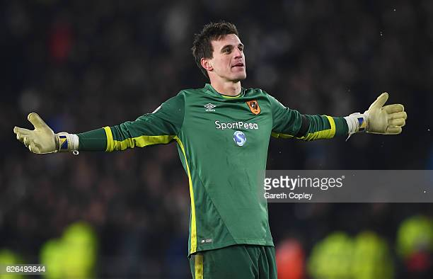 Goalkeeper Eldin Jakupovic of Hull City celebrates following victory in the penalty shoot out after the EFL Cup QuarterFinal match between Hull City...