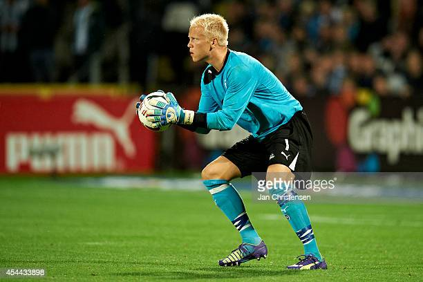 Goalkeeper Emil Ousager of OB Odense in action during the Danish Superliga match between OB Odense and FC Copenhagen at TREFOR Park on August 31 2014...