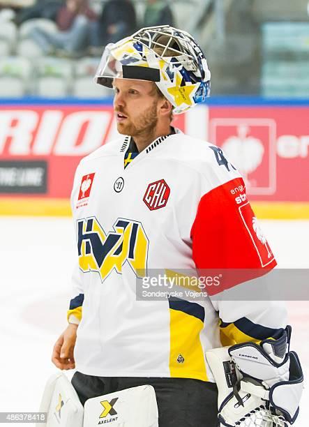 Goalkeeper Erik Ersberg of Jonkoping looks on during the Champions Hockey League group stage game between SonderjyskE Vojens and HV71 Jonkoping on...