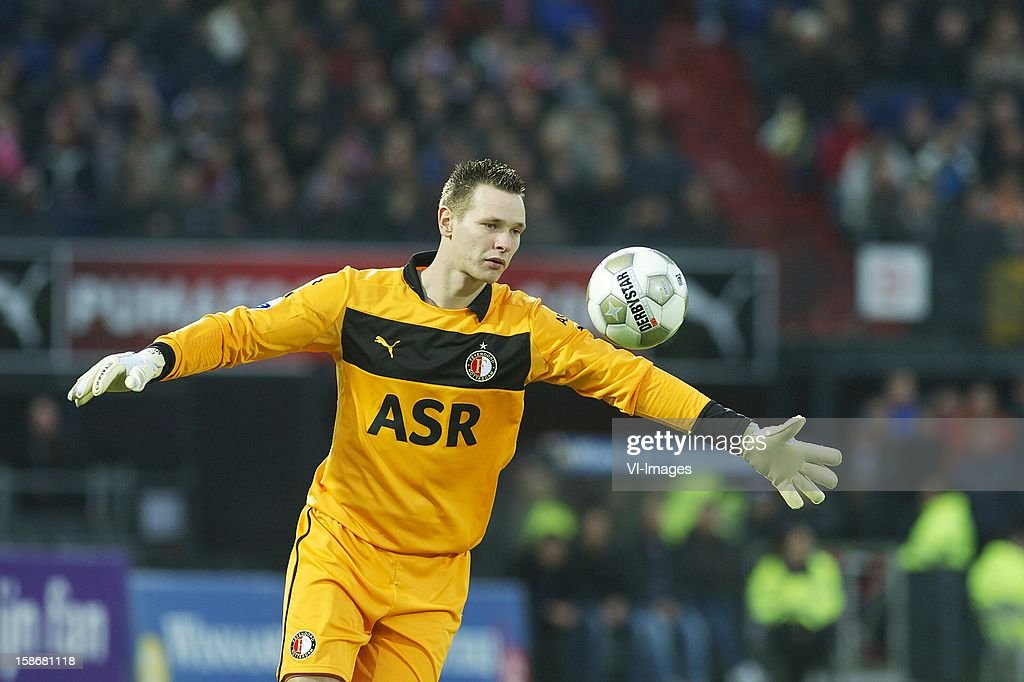 goalkeeper Erwin Mulder of Feyenoord during the Dutch Eredivise match between Feyenoord and FC Groningen at stadium De Kuip on December 23, 2012 in Rotterdam, The Netherlands.