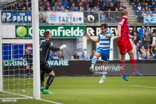 goalkeeper Erwin Mulder of sc Heerenveen Dirk Marcellis of PEC Zwolle Henk Veerman of sc Heerenveenduring the Dutch Eredivisie match between PEC...