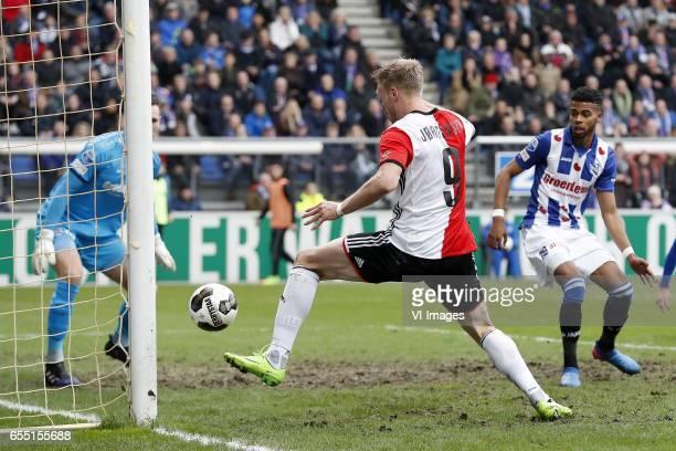 goalkeeper Erwin Mulder of sc Heerenveen Nicolai Jorgensen of Feyenoord Jerry St Juste of sc Heerenveen 11during the Dutch Eredivisie match between...