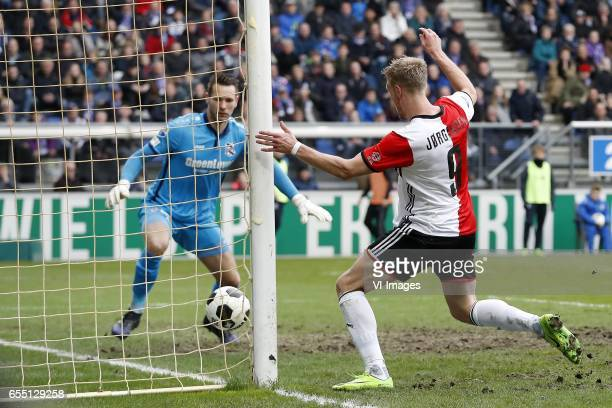 goalkeeper Erwin Mulder of sc Heerenveen Nicolai Jorgensen of Feyenoord 11during the Dutch Eredivisie match between sc Heerenveen and Feyenoord...