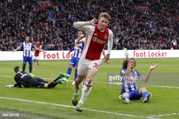 goalkeeper Erwin Mulder of sc Heerenveen Stefano Marzo of sc Heerenveen Yuki Kobayashi of sc Heerenveen Matthijs de Ligt of Ajax Wout Faes of sc...