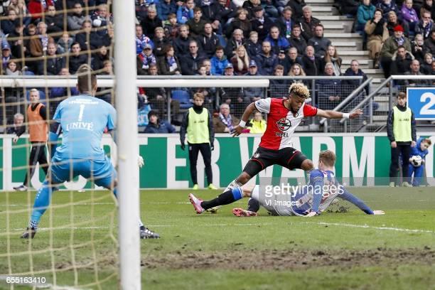 goalkeeper Erwin Mulder of sc Heerenveen Tonny Vilhena of Feyenoord Joost van Aken of sc Heerenveenduring the Dutch Eredivisie match between sc...