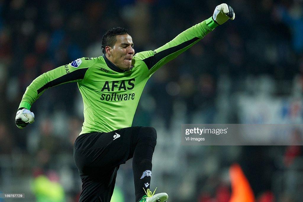 goalkeeper Esteban Alvarado Brown of AZ during the Dutch Eredivise match between AZ Alkmaar and Vitesse Arnhem at the AFAS Stadium on January 19, 2013 in Alkmaar, The Netherlands.