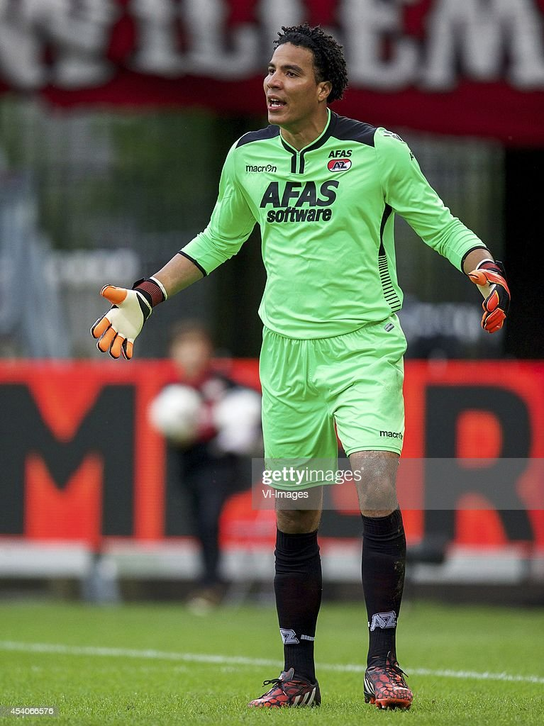 goalkeeper Esteban Alvarado Brown of AZ during the Dutch Eredivisie match between Willem II and AZ at the Koning Willem II stadium on august 23 2014...