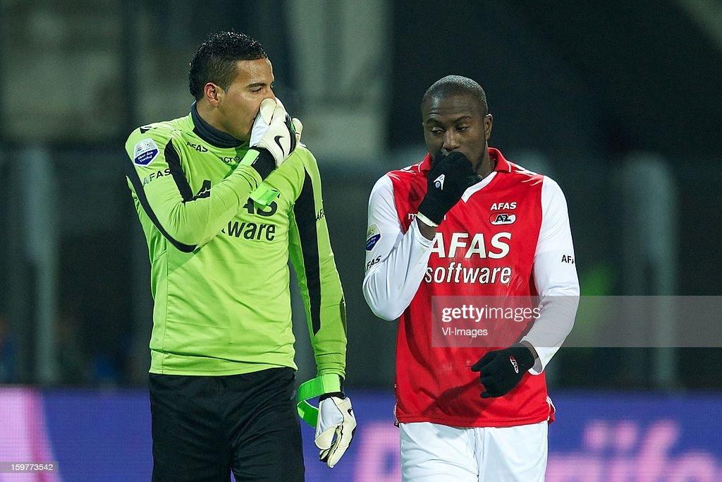 goalkeeper Esteban Alvarado Brown of AZ, Jozy Altidore of AZ during the Dutch Eredivise match between AZ Alkmaar and Vitesse Arnhem at the AFAS Stadium on January 19, 2013 in Alkmaar, The Netherlands.