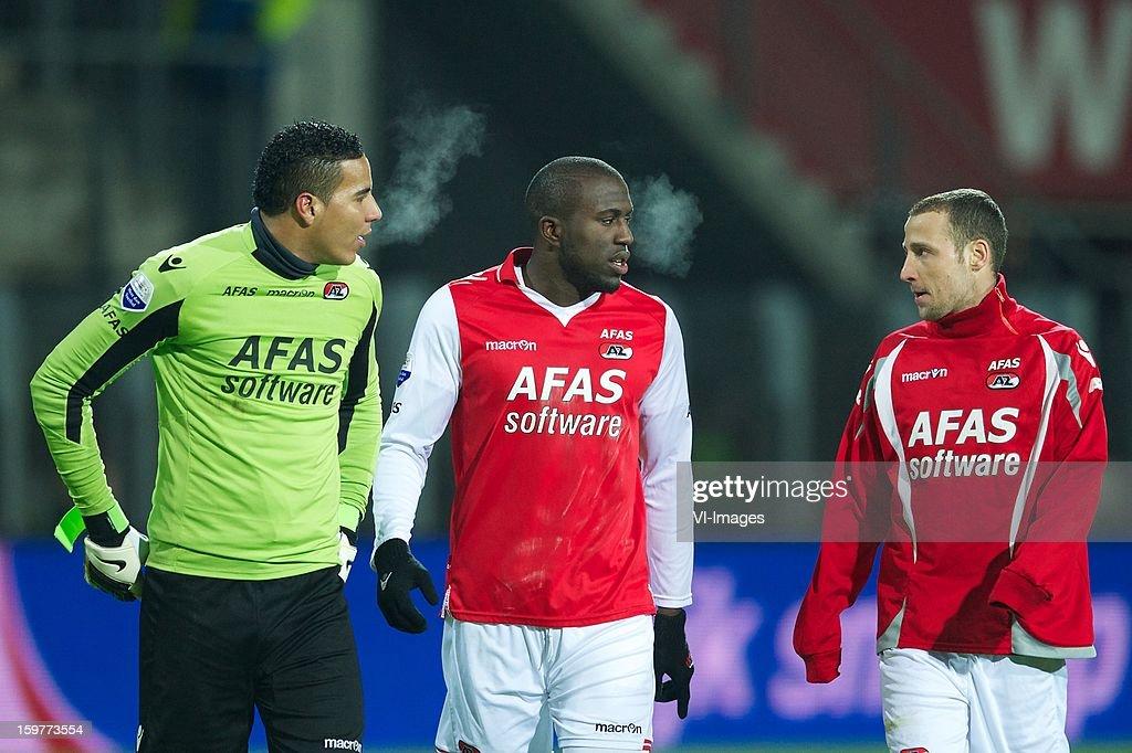 goalkeeper Esteban Alvarado Brown of AZ, Jozy Altidore of AZ, Roy Beerens of AZ during the Dutch Eredivise match between AZ Alkmaar and Vitesse Arnhem at the AFAS Stadium on January 19, 2013 in Alkmaar, The Netherlands.