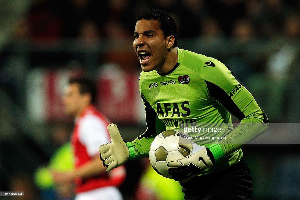 Goalkeeper, Esteban Alvarado of AZ screams instructions to team mates during the Eredivisie match between AZ Alkmaar and PSV Eindhoven at the AFAS Stadium on April 20, 2013 in Alkmaar, Netherlands.