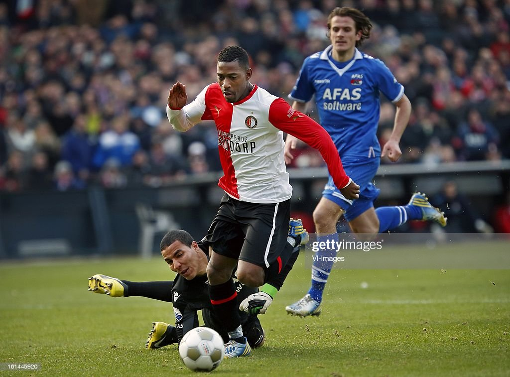 goalkeeper esteban (L), Ruben Schaken (C) during the Dutch Eredivisie match between Feyenoord and AZ Alkmaar at stadium De Kuip on february 10, 2013 in Rotterdam, The Netherlands