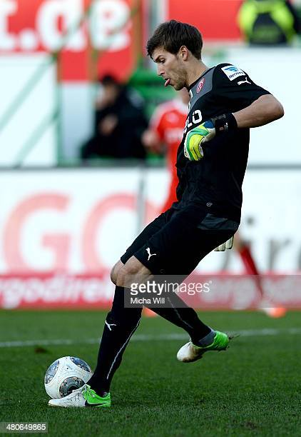 Goalkeeper Fabian Giefer of Duesseldorf kicks the ball during the second Bundesliga match between Greuther Fuerth and Fortuna Duesseldorf at...
