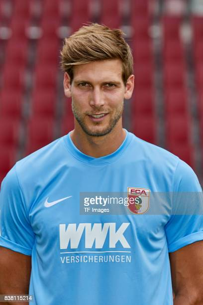 Goalkeeper Fabian Giefer of FC Augsburg poses during the team presentation at WWK Arena on July 17 2017 in Augsburg Germany