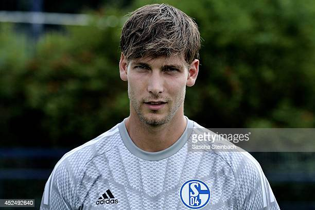 Goalkeeper Fabian Giefer poses during FC Schalke 04 team presentation at VeltinsArena on July 17 2014 in Gelsenkirchen Germany