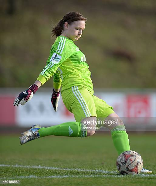 Goalkeeper Fabienne Weber of Muenchen kicks the ball during the Women's Second Bundesliga match between Bayern Muenchen II and 1 FC Koeln at...