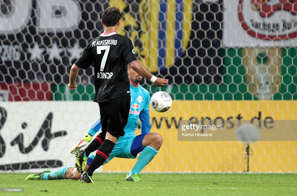 Goalkeeper Fabio Coltorti of Leipzig is without a chance as <a gi-track='captionPersonalityLinkClicked' href=/galleries/search?phrase=Halil+Altintop&family=editorial&specificpeople=602238 ng-click='$event.stopPropagation()'>Halil Altintop</a> of Augsburg scores the second goal during the DFB-Cup between RB Leipzig and FC Augsburg at Zentralstadion on August 02, 2013 in Leipzig, Germany.