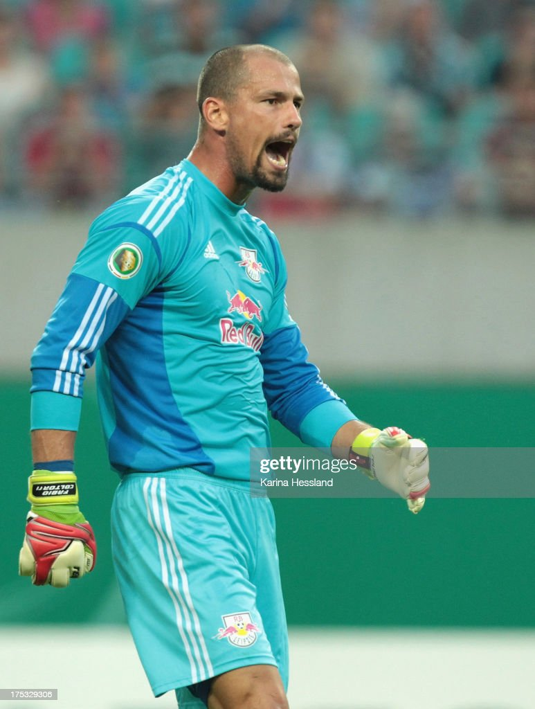 Goalkeeper Fabio Coltorti of Leipzig reacts during the DFB-Cup between RB Leipzig and FC Augsburg at Zentralstadion on August 02, 2013 in Leipzig, Germany.