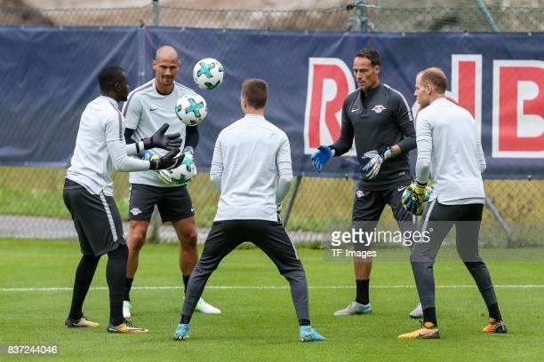 Goalkeeper Fabio Coltorti of RB Leipzig Goalkeeper Yvon Mvogo of RB Leipzig Goalkeeper Peter Gulacsi of RB Leipzig Goalkeeper Philipp Koehn of RB...