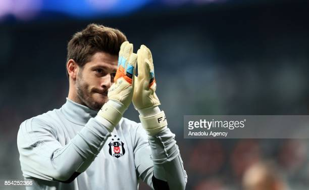 Goalkeeper Fabri of Besiktas greets the supporters of Besiktas ahead of UEFA Champions League Group G match between Besiktas and Leipzig at Vodafone...