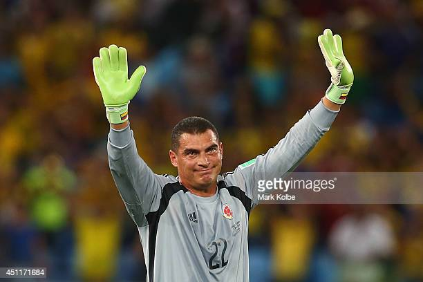 Goalkeeper Faryd Mondragon of Colombia acknowledges the fans after the 2014 FIFA World Cup Brazil Group C match between Japan and Colombia at Arena...